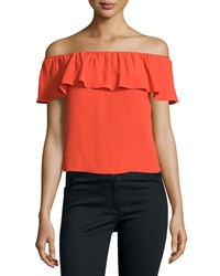 Veronica Beard Coast Ruffled Off The Shoulder Top Red Women's