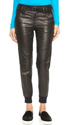 Vince Leather Belted Jogger Pants Black