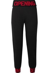 Opening Ceremony Intarsia Trimmed Cotton Jersey Track Pants Black