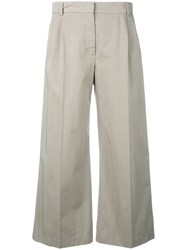 Aspesi Flared Cropped Trousers Nude Neutrals