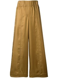 Alysi Cropped Palazzo Trousers Gold