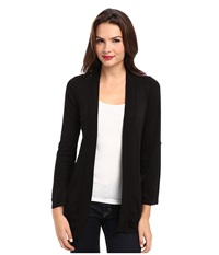 Splendid 1X1 Ribbed Tab Sleeve Cardi Wrap Black Women's Sweater