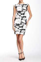 Julia Jordan Extended Sleeve Text Floral Bodycon Dress Multi