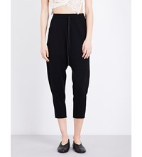 Isabel Benenato Loose Fit High Rise Cropped Trousers Black