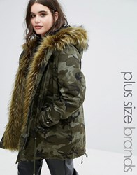 Alice And You Camo Premium Parka Jacket With Fur Lining Khaki Green