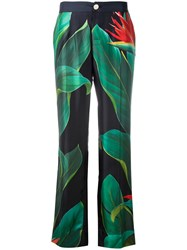 F.R.S For Restless Sleepers Flower Print Straight Trousers Black