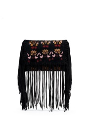 Isabel Marant 'Shiloh' Ethnic Embroidery Suede Fringe Clutch Black Multi Colour