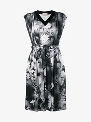 Christopher Kane Floral Graffiti Print Dress Black White