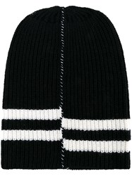 Raf Simons Oversized Striped Beanie Black