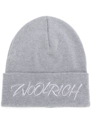 Woolrich Logo Embroidered Knitted Hat Grey