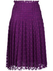 Philosophy Di Lorenzo Serafini Pleated Skirt Women Cotton Polyamide Viscose 40 Pink Purple