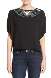 Women's Ella Moss 'Joss' Embroidered Crepe Top