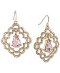 Carolee Gold Tone Pave And Pink Stone Scalloped Drop Earrings Gold Pink
