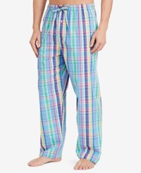 Polo Ralph Lauren Men's Blue And Green Check Woven Pajama Pants Tay Plaid