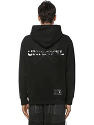 Unravel Printed Cotton Jersey Sweatshirt Hoodie Black