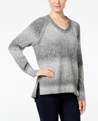 Styleandco. Style Co. V Neck Striped Sweater Only At Macy's Grey Combo