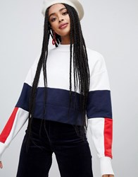 Monki High Neck Colourblock Sweatshirt White