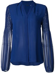 Elie Tahari Sheer Sleeves Shirt Blue