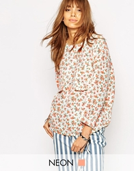 Native Rose Oversized Top In Bright Ditsy Multi