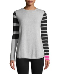 Lisa Todd Classic Pop Striped Cashmere Sweater Silver Mist