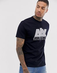 Armani Exchange Relaxed Fit Ax Metallic Logo T Shirt In Navy
