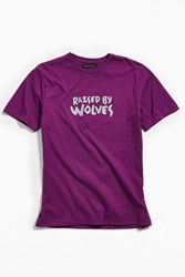 Raised By Wolves Tag Logo Tee Purple