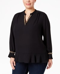 Ny Collection Plus Size Embellished Ruffled Blouse Black