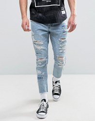 Cayler And Sons Skinny Jeans With Extreme Rips Raw Hem Blue