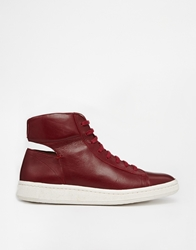 Ymc Leather High Top Trainers Red