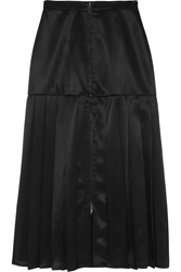 Fendi Pleated Satin Twill Midi Skirt