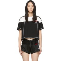 Adidas By Alexander Wang Originals Black And White Cropped Disjoin Jersey T Shirt