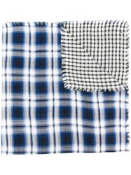 Diesel Checked Scarf Blue