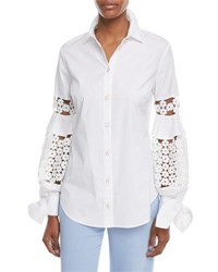 Lela Rose Button Front Collared Stretch Poplin Shirt W Lace Insets White
