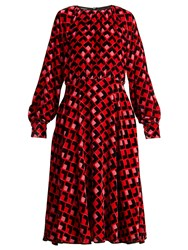 Rochas Geometric Print Velvet Midi Dress Red Print