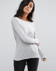 Vero Moda Drapey Cowl Hem Shirt With Lace Yoke As Sample Grey W. Multi
