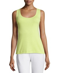 Joan Vass Cotton Ribbed Tank Top Lime