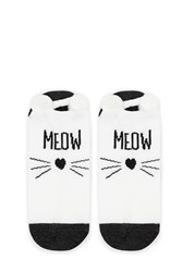 Forever 21 Meow Graphic Ankle Socks White Grey