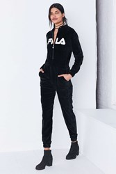 Fila Uo Koby Zip Front Velour Coverall Jumpsuit Black