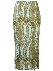 Sophie Theallet Leaf Print Fitted Skirt Green