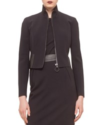 Akris Punto Cropped Jacket W Faux Leather Trim Black
