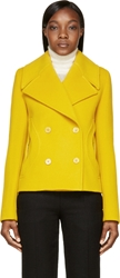 Carven Yellow Double Breasted Wool Coat