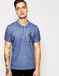 Religion Oil Wash Pique Polo Shirt With Large Skeleton Logo Blueshadow