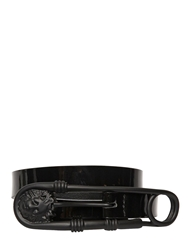 Versus Patent Leather Belt W Safety Pin Buckle Black