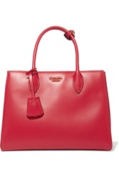 Prada Bibliotheque Small Leather Tote Red