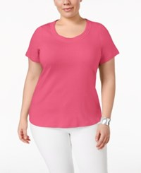 Charter Club Plus Size Pima Cotton Scoop Neck T Shirt Only At Macy's Glamour Pink