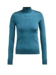 Givenchy Striped Ribbed Knit Sweater Blue