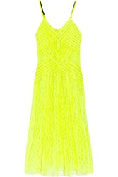 Christopher Kane Jessica Pleated Neon Lace Dress