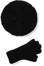 Portolano Cable Knit Cashmere Beret And Gloves Set Black