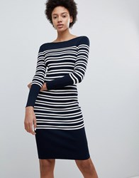 Selected Femme Striped Knitted Cotton Dress Navy