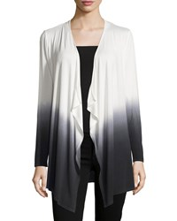 Neiman Marcus Long Sleeve Dip Dye Cardigan White Black